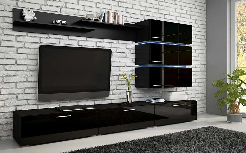 High Gloss Tv Wall Unit Cabinet Stand Led S Smart Furniture