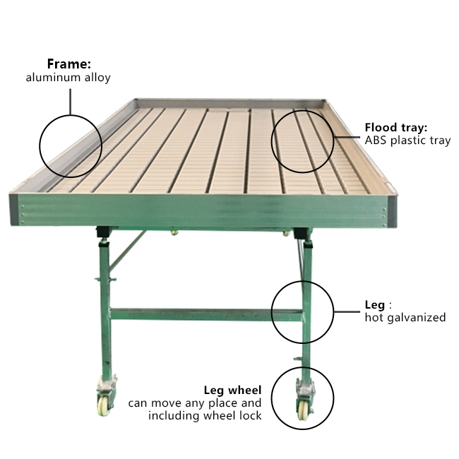 Adjustable Ebb and Flow Systems Rolling Table Benches for Plant