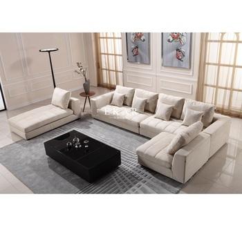 Neue Modell Wohnzimmer Moderne Couch Holz I Form Stoff 7 Sitzer Sectional  Sitzgruppe Entwirft Bilder Und
