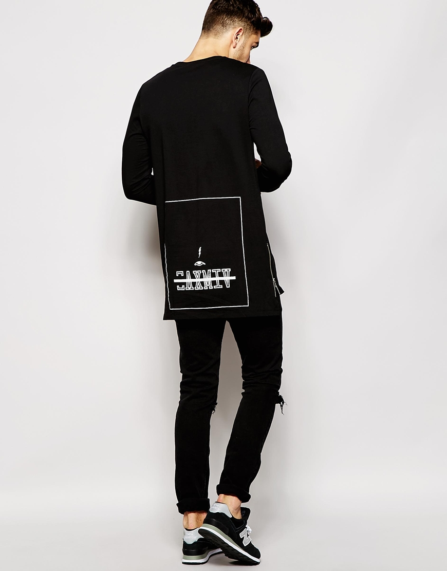men long line t shirt long sleeve tshirts with back print and side zips  longline shirt 15a7e1377a2