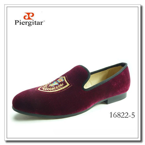 Albert Embroidered Burgundy Slippers Shoes Loafers Men For Velvet Prince qxFngH0
