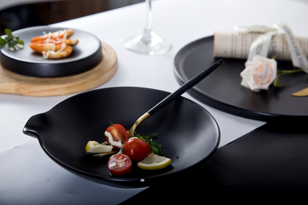 product-Two Eight-Stylish new design porcelain tableware black matte dinner plate-img-2