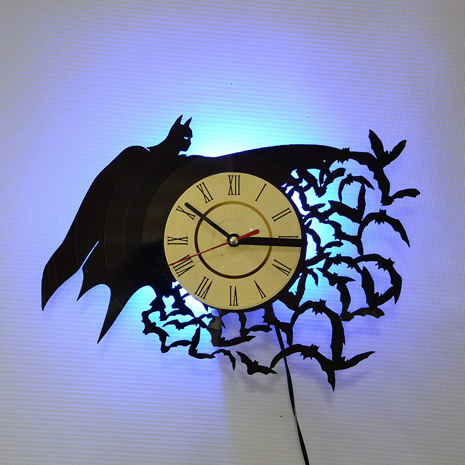 BATMAN SUPERHERO Blue Led LED Backlight Vinyl Wall Clock Night Color Change Atmosphere Light Lamp Creative Classic Cool Living Room Interior Decor Led Time Clock With Color Red Light