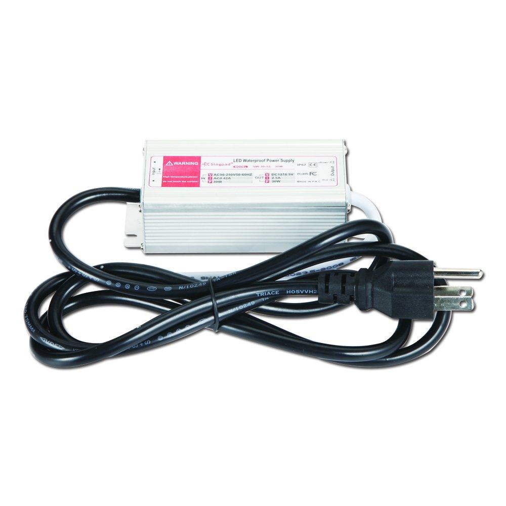 Singpad 30 Watt Waterproof LED Power Supply Driver Transformer 120 to 12 Volt Dc Output,12Vdc Switching Power Supply Low Voltage Lighting LED Driver with 3-prong Plug