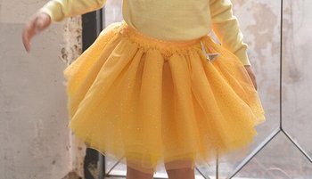 Competitive price hotsell girl yellow green petal tutu skirt
