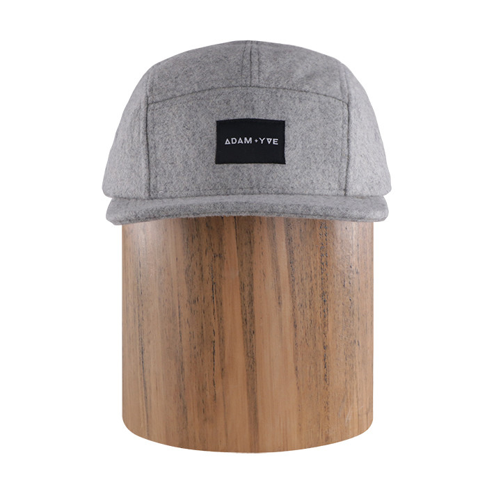 Custom logo mens warm wol 5 panel hoeden cap