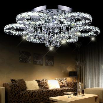 moderne led kristall deckenleuchte kurze wohnzimmer lampen f hrte kristall kreis deckenleuchte. Black Bedroom Furniture Sets. Home Design Ideas