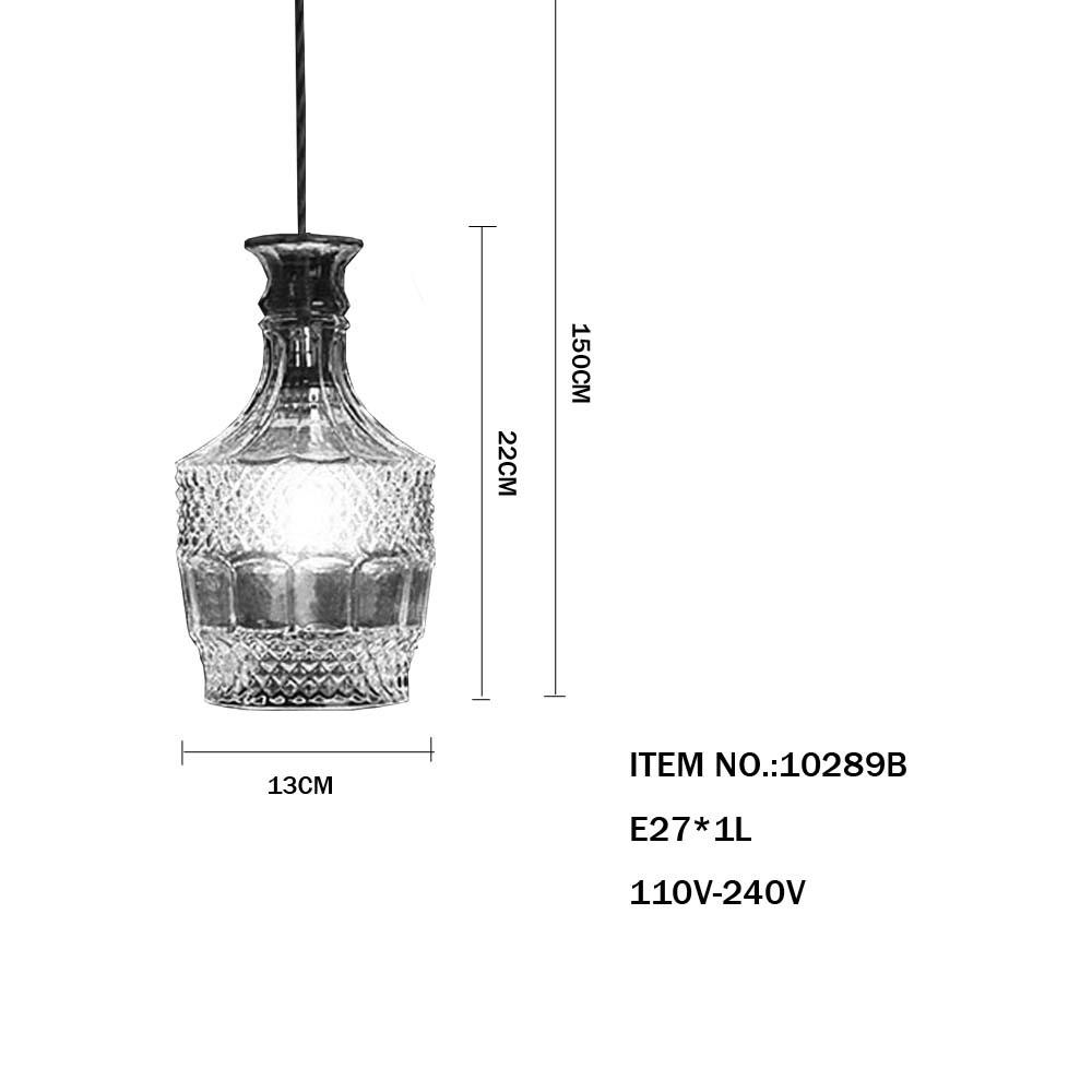 Decorative Hanging Pendant Light Vintage Style Glass Bottle