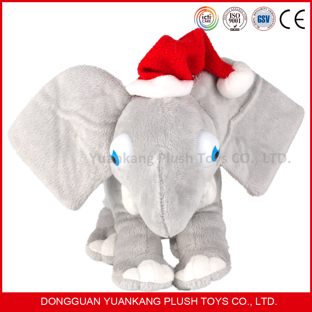 wholesale plush and stuffed elephant toys with big ears and santa hat
