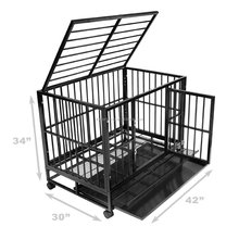 luxurious Heavy Duty large folding Dog crate with wheel