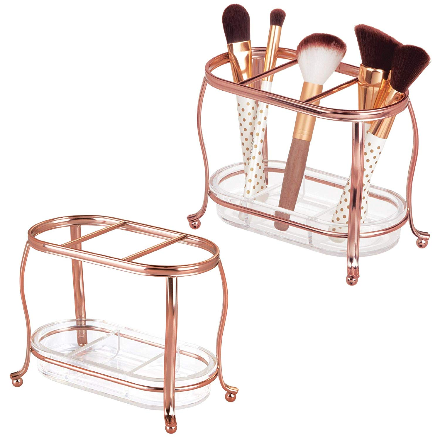 mDesign Decorative Makeup Brush Storage Organizer Tray Stand for Bathroom Vanity Counter Tops, Dressing Tables, Cosmetic Stations - 3 Sections with Removable Bottom Tray - Pack of 2, Rose Gold/Clear