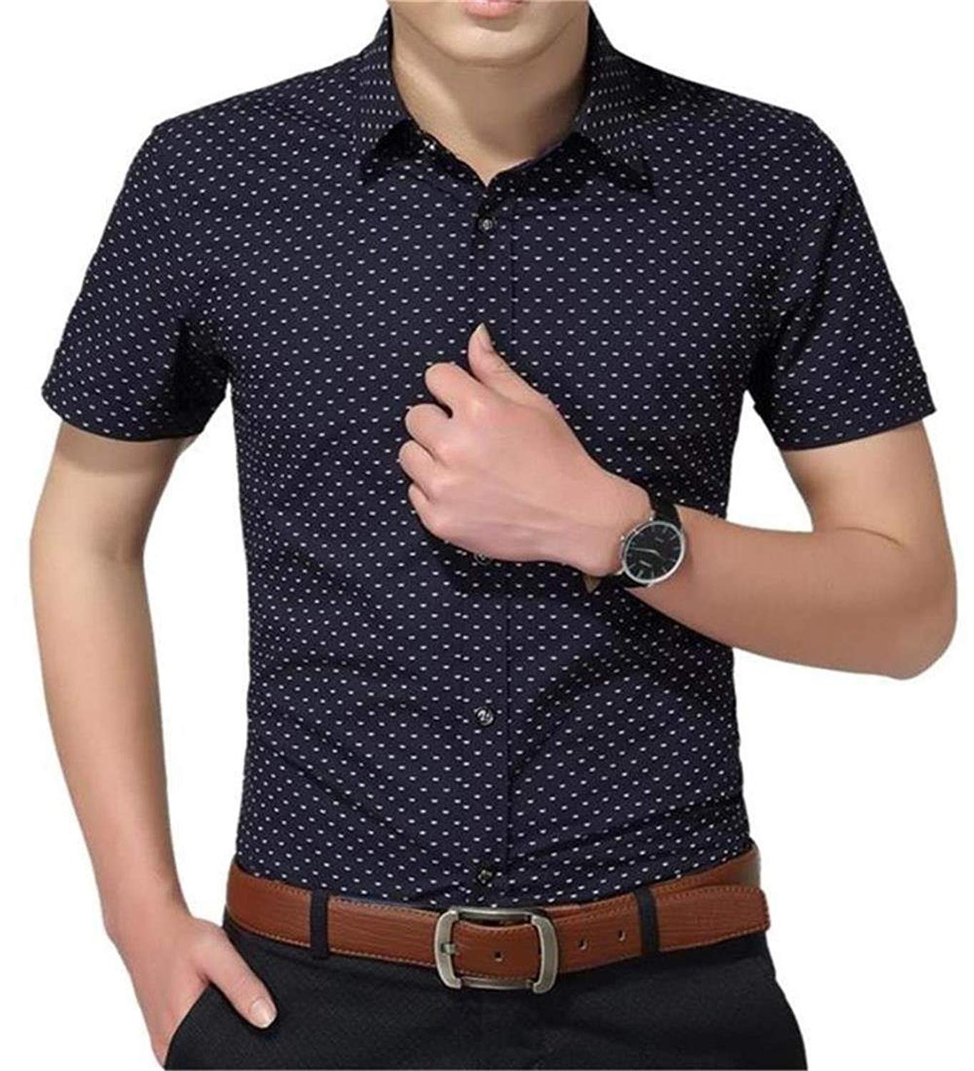 15f129beb3a5be Get Quotations · YTD Mens 100% Cotton Casual Slim Fit Short Sleeve Button  Down Printed Plaid Dress Shirts