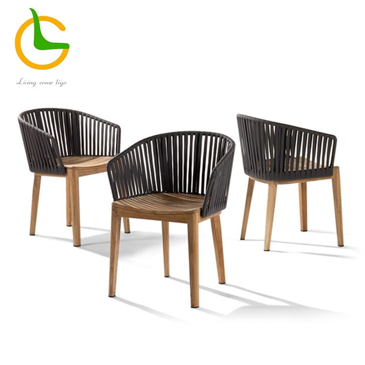 Rope woven outdoor furniture hotel patio used new design cheap price dining table chairs