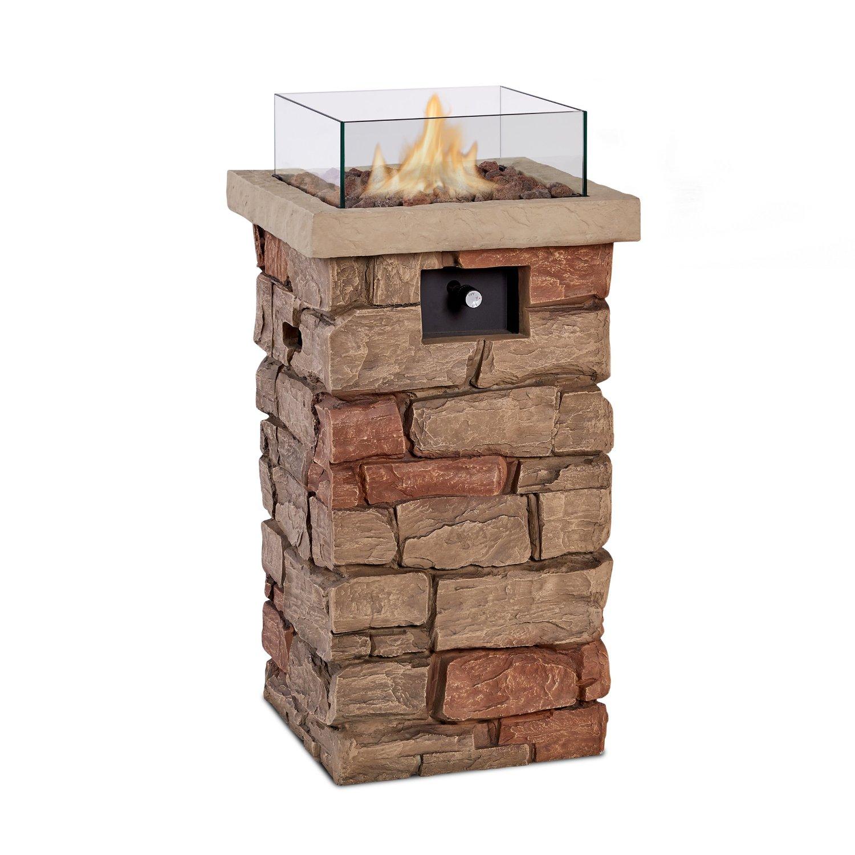 "Real Flame 11819LP Sedona 32"" Propane Fire Column, Small, Buff"