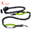 custom print logo nylon bungee pets Hands Free Dog Leash with Poop Bag Holder