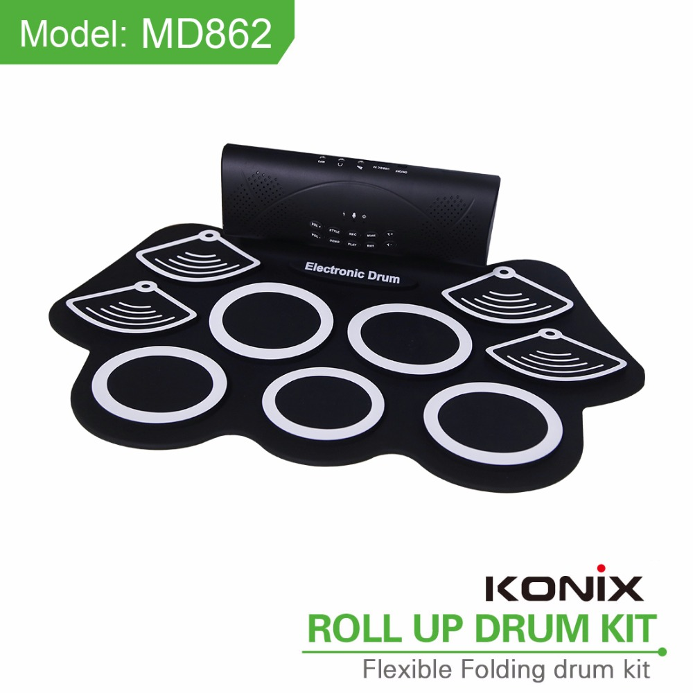 2018 Novo Modelo Konix Elecctronic Drum Kit Dobrável Roll Up Drum Kit