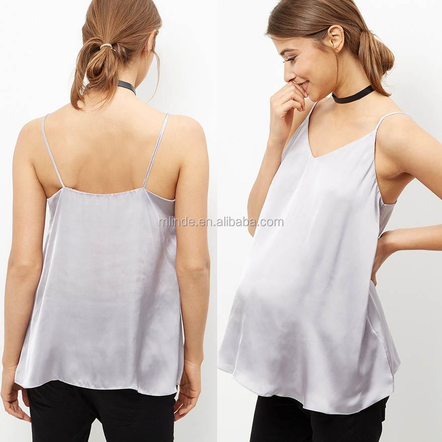 Nursing Clothes 100% Polyster V Neckline Sex Camisole Maternity Grey Satin  Cami Clothing For Pregnant