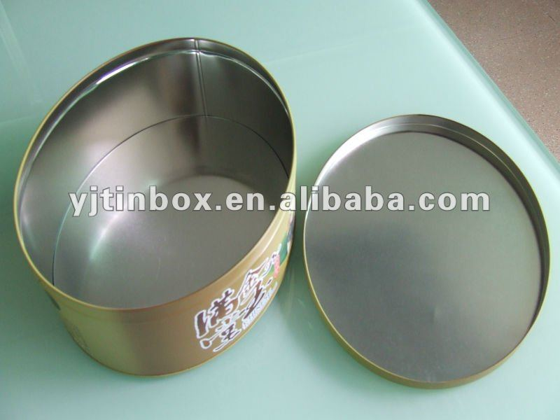 empty printed food grade round tinplate cake box /tin can for christmas candy/gifts/metal packgaing cookie containers/box