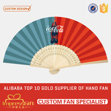 Custom made craft rainbow bamboo hand chinese fan for ad