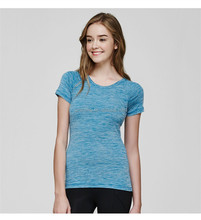 Dry fit women athletic wear top sport shirt continental clothing breathable and slim fit gym t shirt in blue color