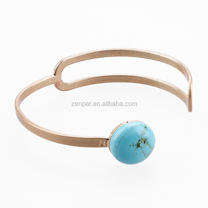 Turquoise bangle open mouth gold plating bangle women copper cuff bangle bracelet charm turquoise jewellery