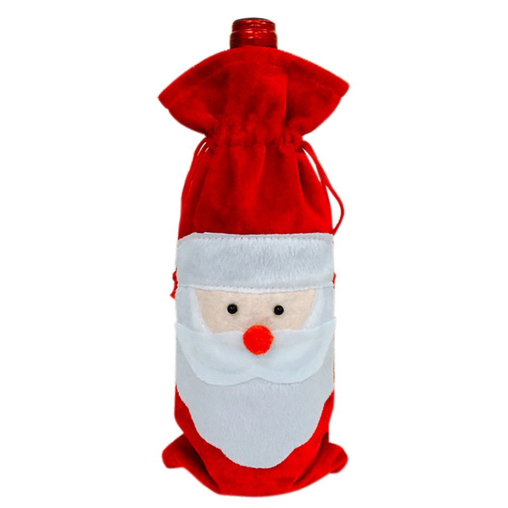 Aosbos 1 Pc Christmas Santa Claus Red Wine Bottle Cover Bags Xmas Dinner Party Table Decor Wine Bottle Gift Bags