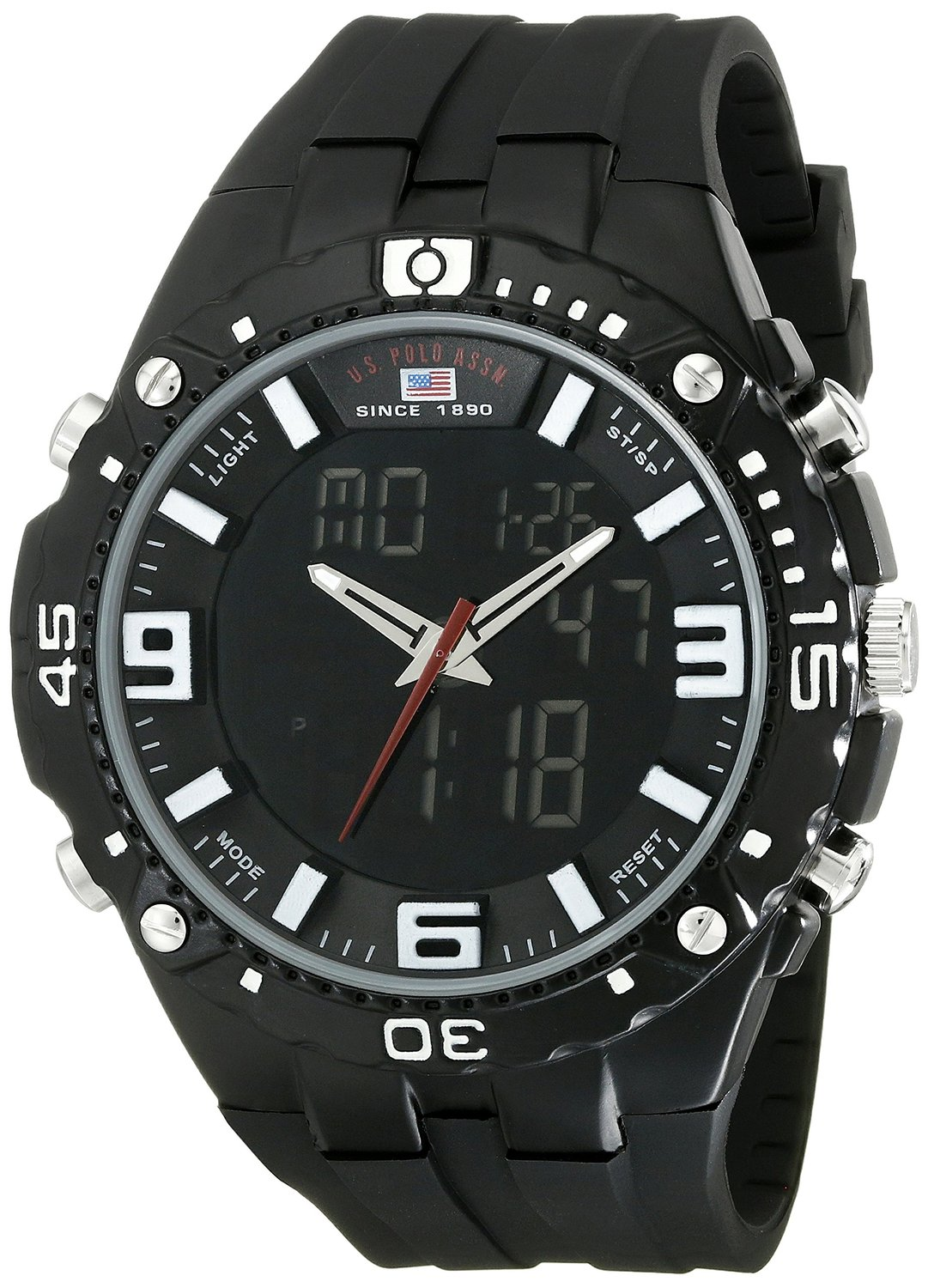 a068e74d198 Get Quotations · U.S. Polo Assn. Sport Men s US9174 Black Silicone Analog  Digital Sport Watch