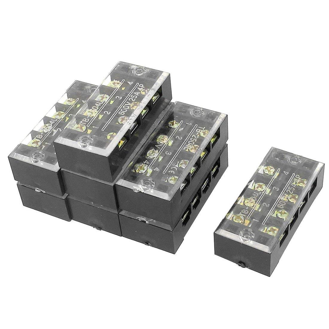 Aexit 8 Pcs 2 Row 4 Position Screw Terminal Block Strip Connector 600V 25A