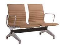 Beige double seat leather cover back waiting chairs executive office chair