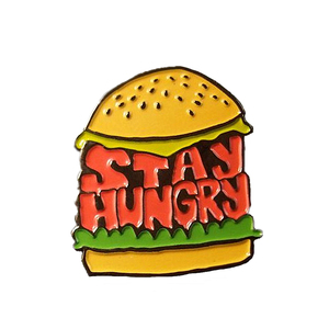 Black Nickle Plated Soft Enamel Stay Hungry Hamburger Pin Custom Food Enamel Pin