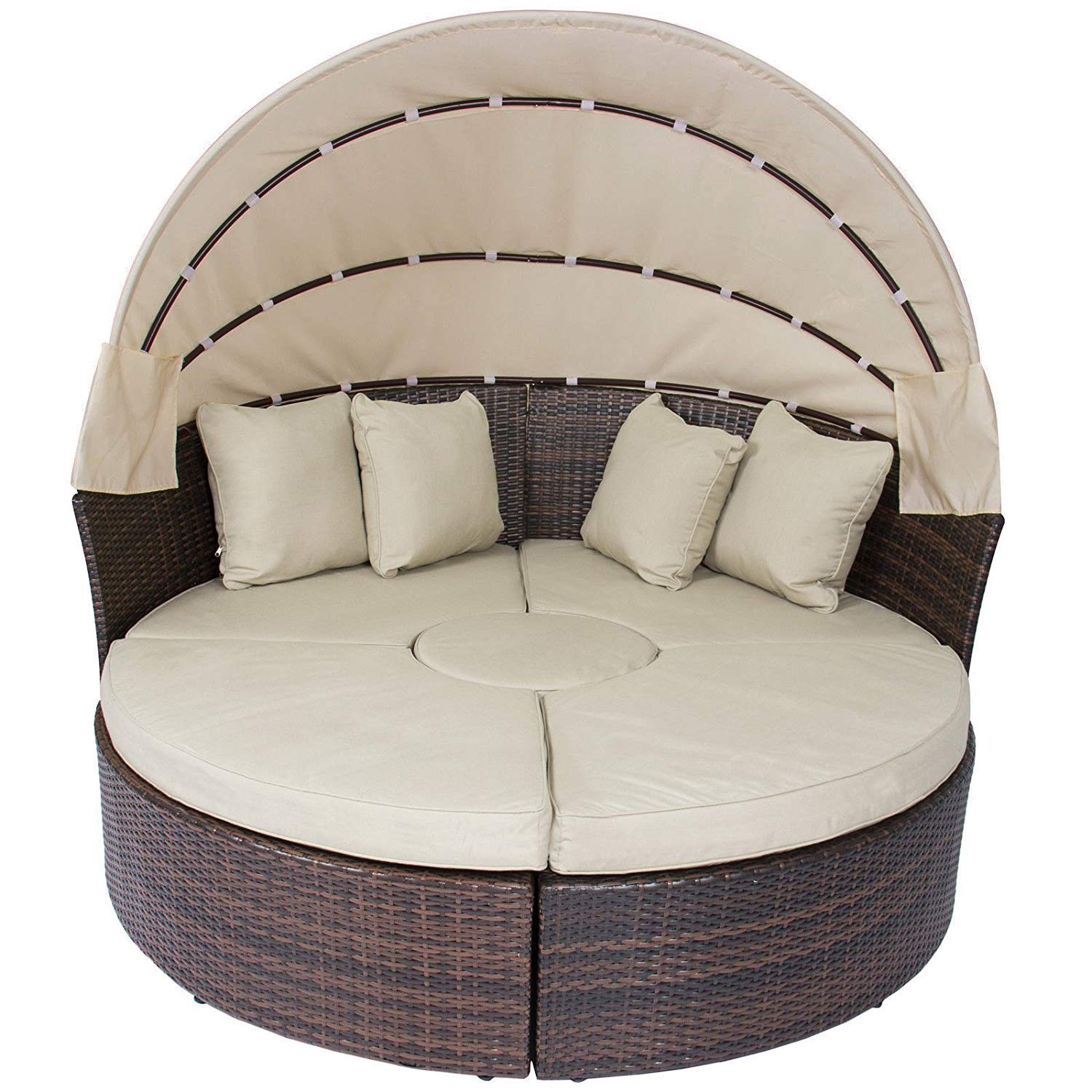 Long World 4 pc Outdoor Furniture Sets Patio Wicker Rattan Round Daybed Chaise W/Retractable Canopy,Seating Separates,Washable Cushions for Lawn Backyard Pool Garden