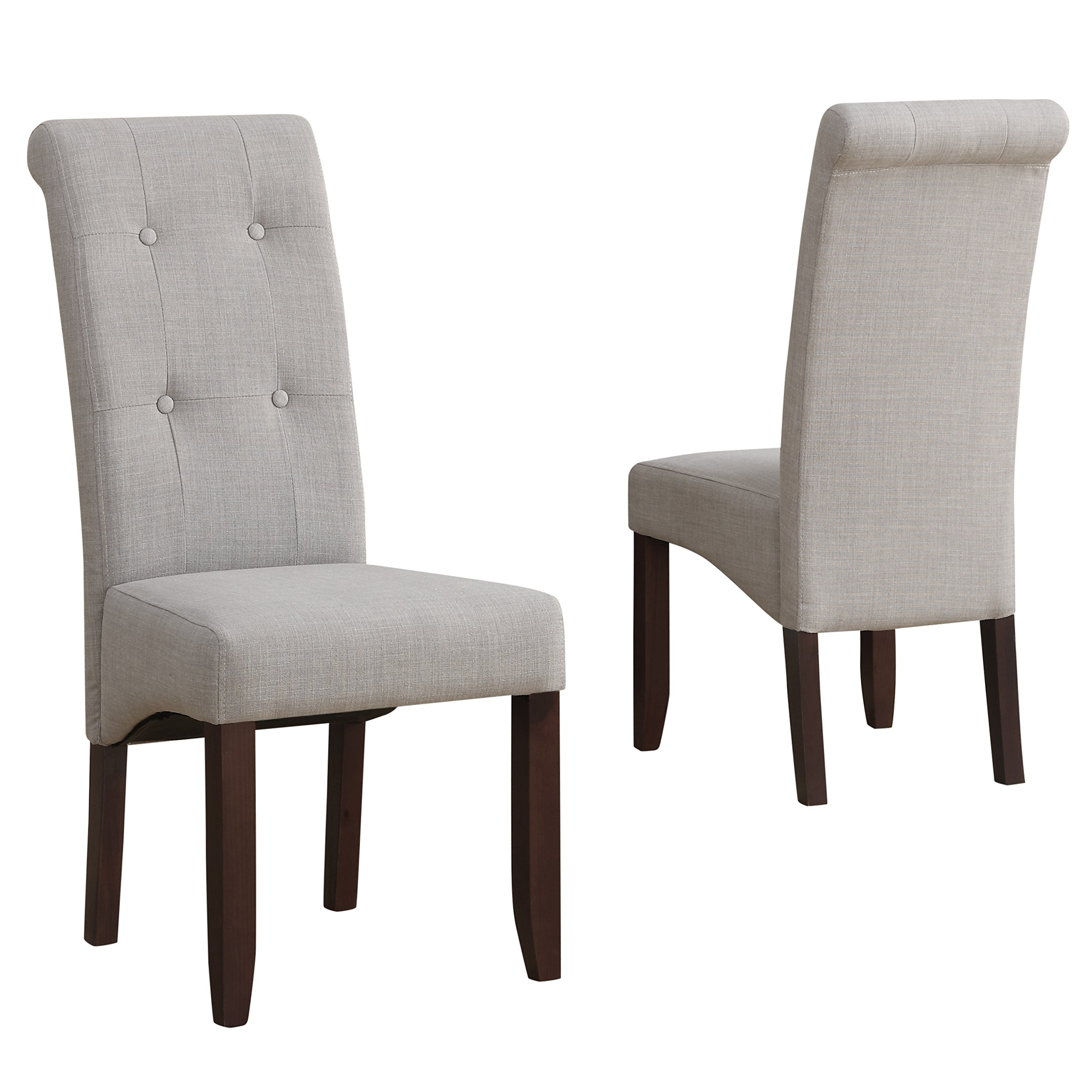 Simpli Home Cosmopolitan Deluxe Tufted Parson Dining Chair, Dove Grey (Set  Of 2)