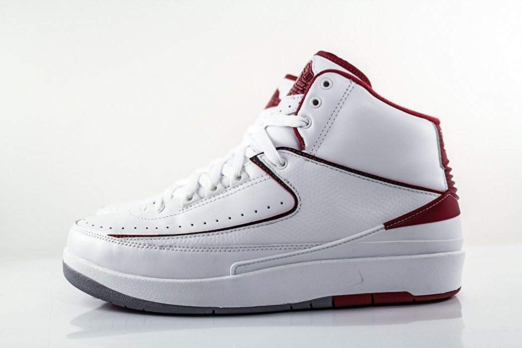 Jordan Men's Air 2 Retro, White/Black-Varsity RED-Cement Grey, 8.5 M US