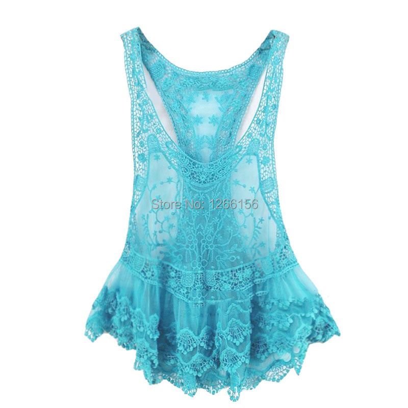 3df4d95d202 Get Quotations · Tank top women 2015 Summer New Fashion Leakage shoulder  Hollow lace tops Sexy tanks Girl plus