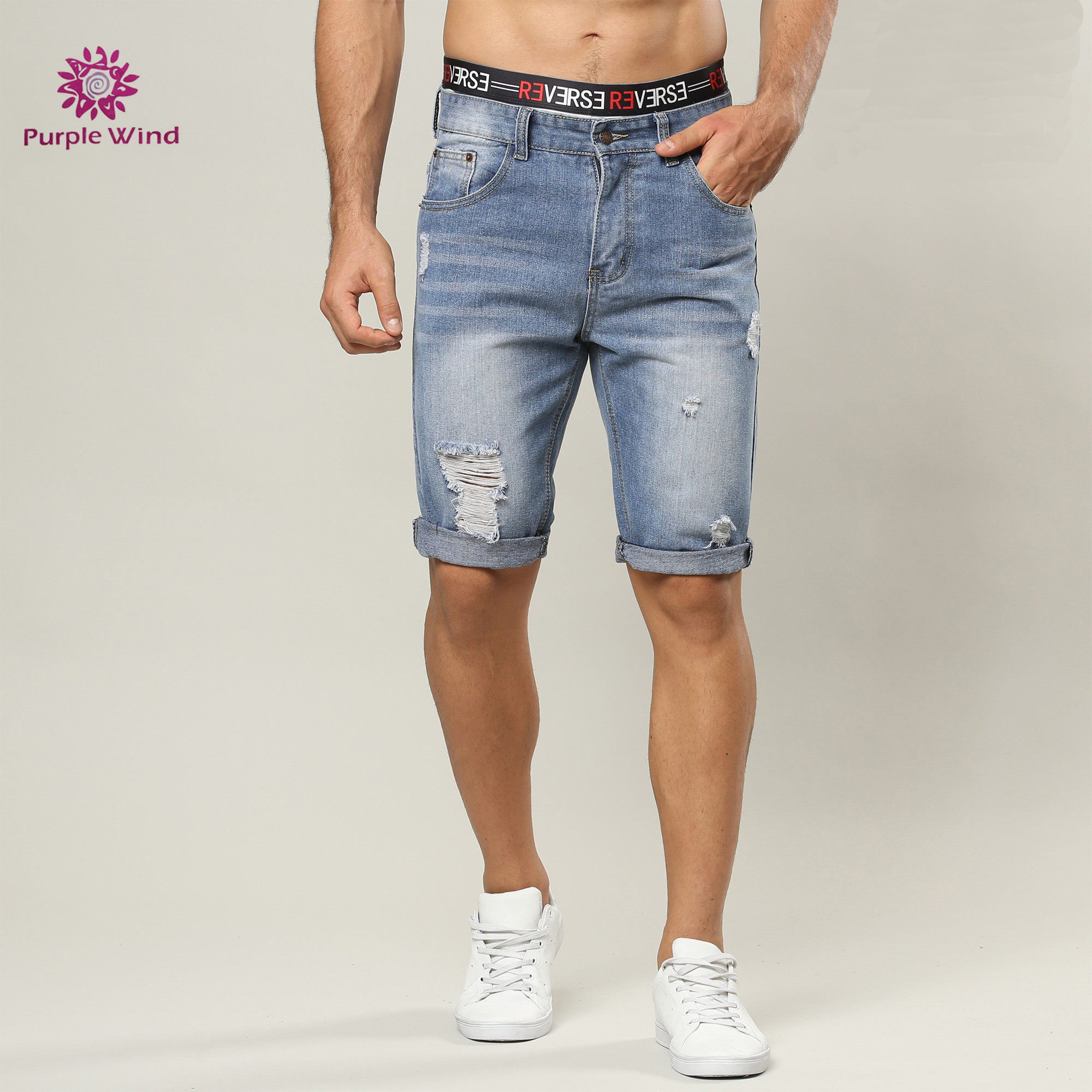11d1f3ac0fad Distressed Casual Style Light Blue Summer Denim Men s Short Jeans ...