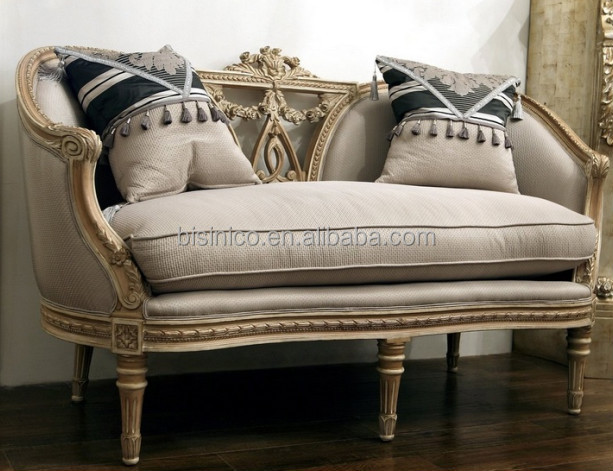 French Provincial Living Room Single Sofa Vintage Hand Carved Fabric Retro Button Tufted