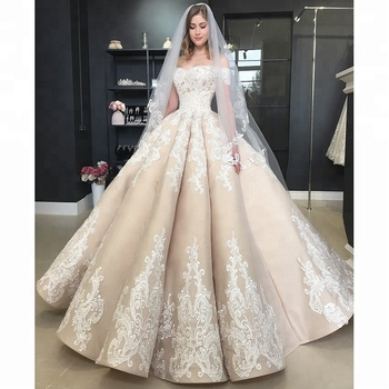 7b79431a6b9 Bridal Luxury Off Shoulder Ball Gown Wedding Dresses Champagne Lace Wedding  Gowns