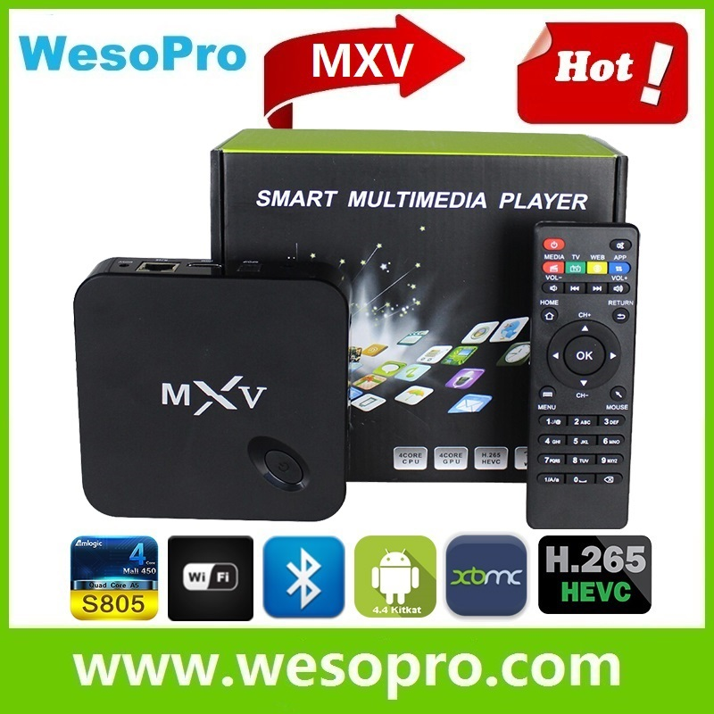 Android Smart <strong>TV</strong> <strong>Box</strong> <strong>Amlogic</strong> S805 1G/8G H.265 Bluetooth Fully-Loaded Quad Core KODI/XBMC MXV S805 Android4.4 <strong>TV</strong> <strong>Box</strong> kodi