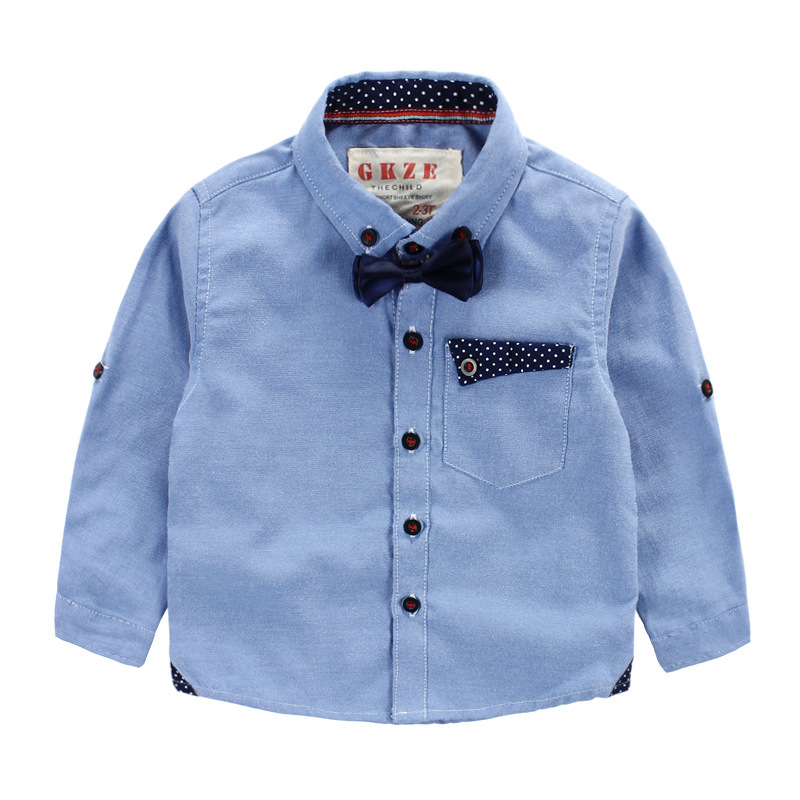 2015 Summer Autumn brand dress Kids shirts cotton Children shirts 2-7 years old School Boys Shirts casual solid school blouse
