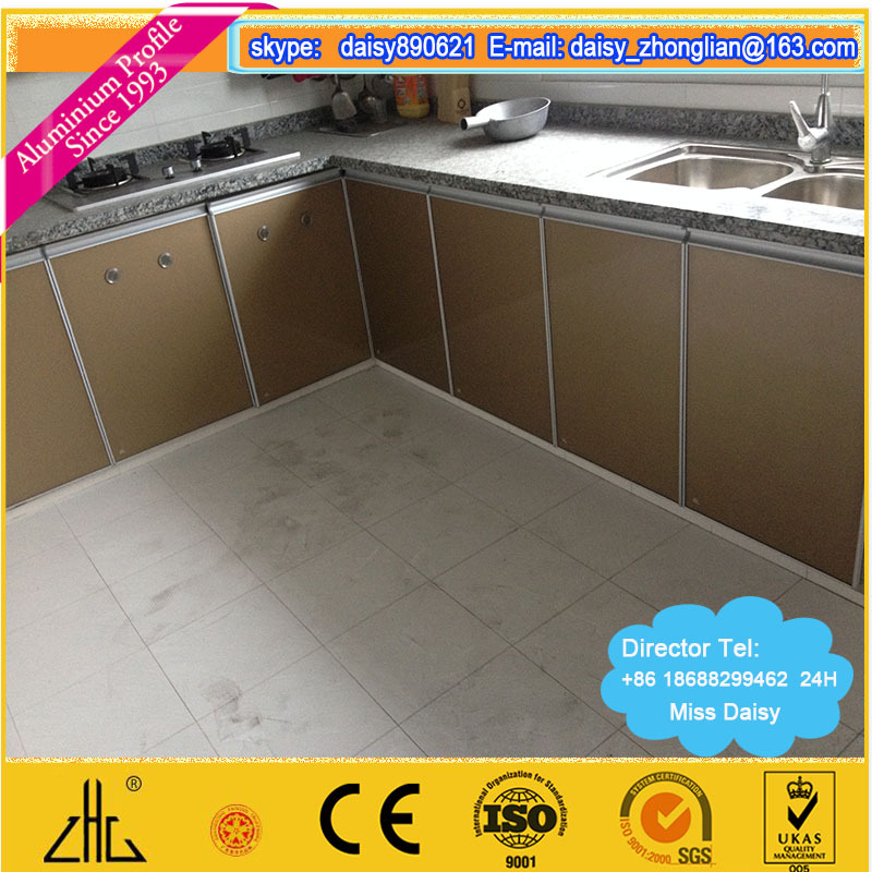 Aluminum Profiled Frame Material Outdoor Cabinet , Anodzied Silver Matt  Aluminium Kitchen Cabinet Profile With Custom