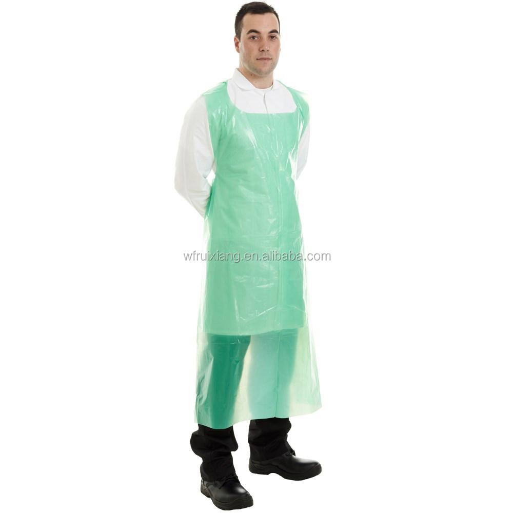 Wegwerp plastic transparante, witte, groene, blauw schort, op ...