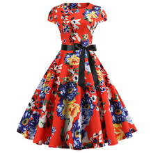 2019 New Printed Women's Rockabilly 50s Vintage Short Sleeve  Cocktail Swing Dress XXL
