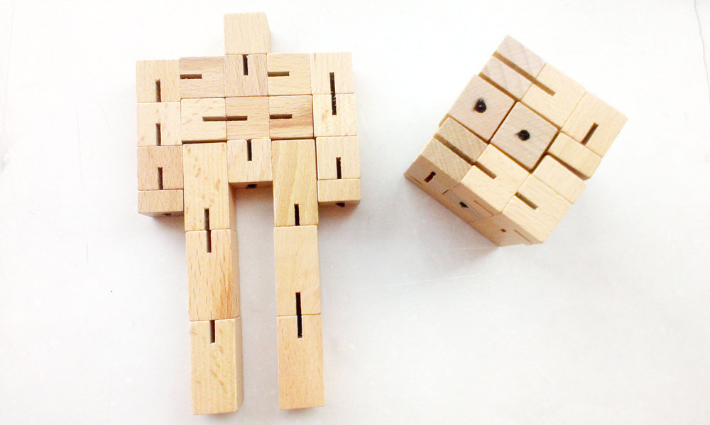Interlocking Robot Cubes Wooden,Wooden Cube Man,Robot Toys