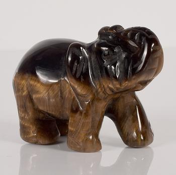 Elephant Figurines Craft Carved Natural Stone Tiger Eye Elephant