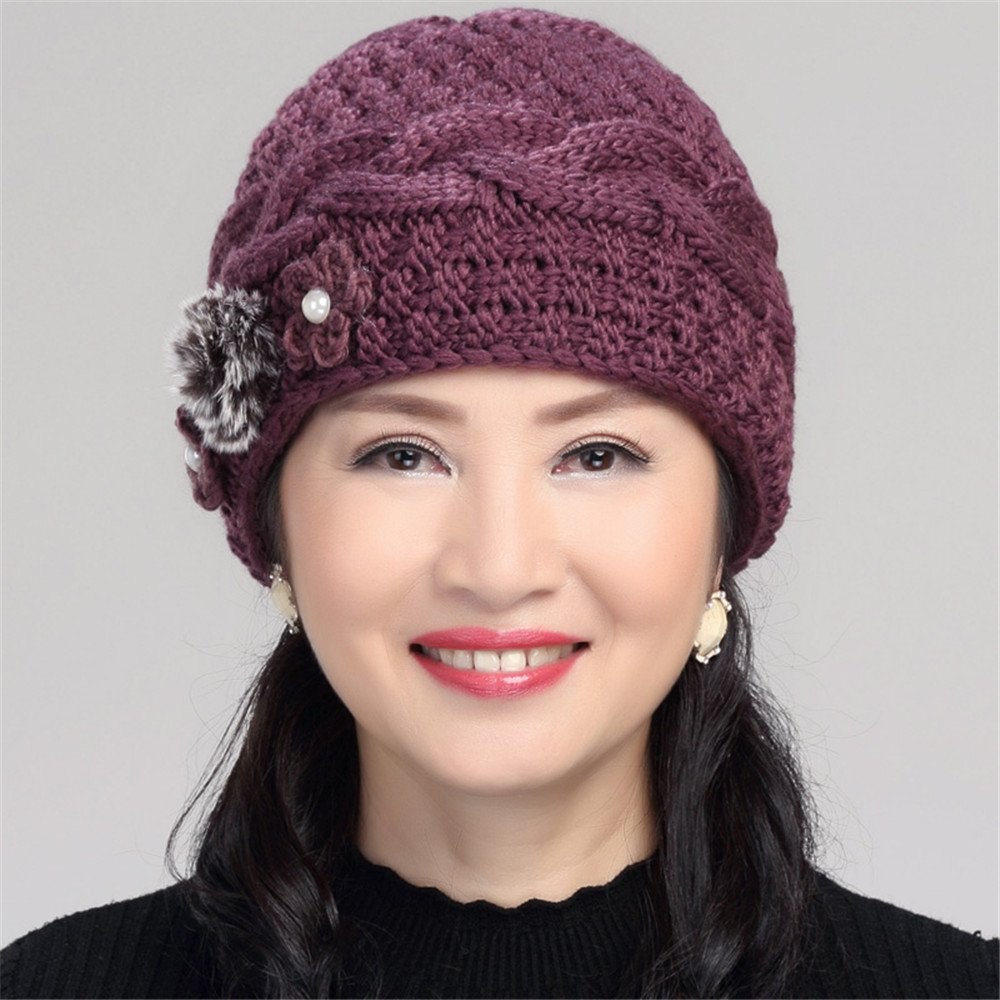 YYNIGHT Winter mens and womens warm knitted hat scarf-QM-Purple