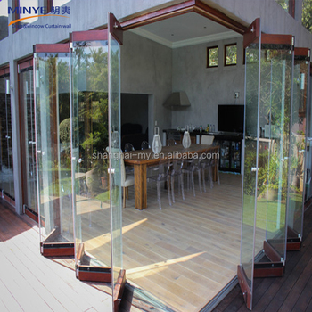 China Gold Supplier Frameless Folding Glass Door Lowes Glass ...