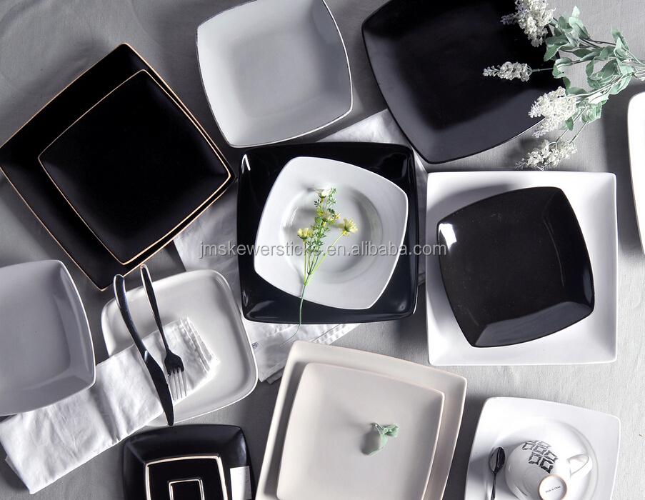 Black And White Ceramic Porcelain Dinnerware Set Modern Square ...