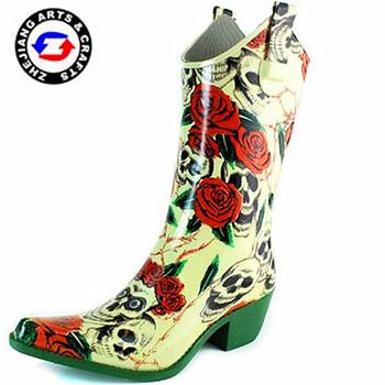 Buy Gummistiefel Cowboystiefel Stiefel Westlichen high 15' Stiefel Cowboy high High Heel 2015 Großhandel Gummi Schwarz Frauen 6f7ygYbv