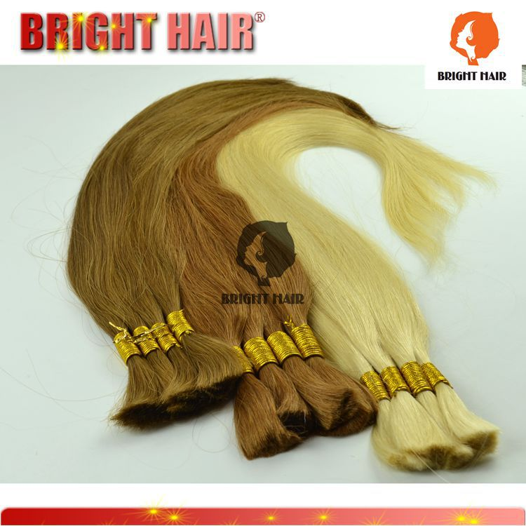 100% beauty light colour straight bulk hair,Chinese remy virgin human hair bulk