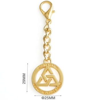 Wholesale Gold Metal Hanging Tag with Clasp, High Quality Make Metal Logo Tag for Bags